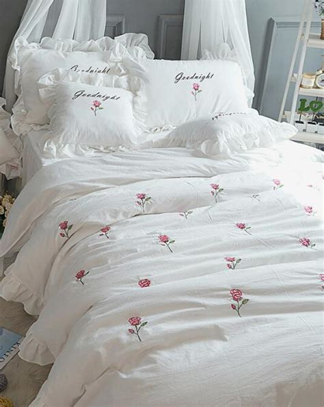 korean web site to order white satin bedspreafs korean princess white flowers wash cotton embroidery high value bedspread bedding sets