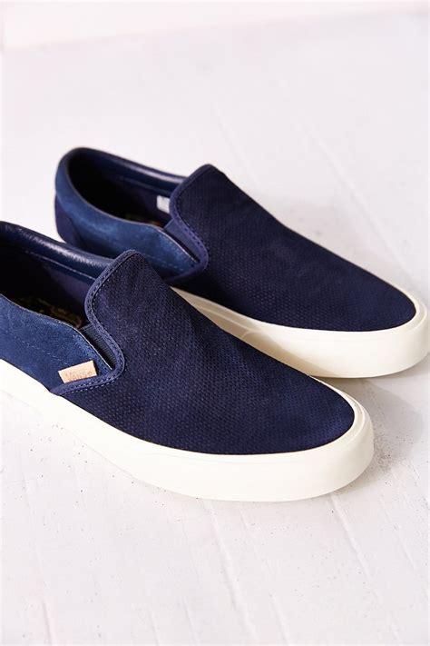 vans classic slip on sneaker lyst vans classic knit suede slip on s sneaker in blue