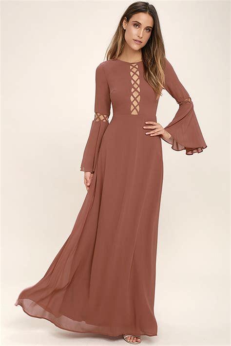 lovely rusty rose dress long sleeve dress maxi dress