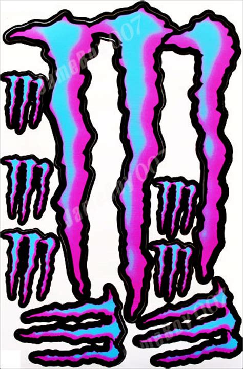 Helm Sticker Monster Energy by Pink Blue Monster Energy Stickers Decal Motorcycle Helmet