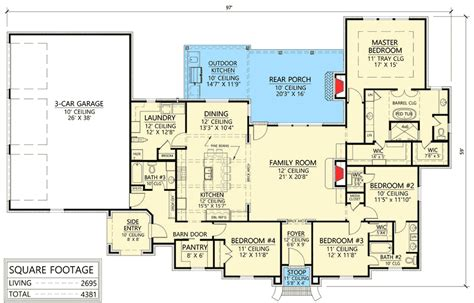 four bedroom acadian house plan with great space for