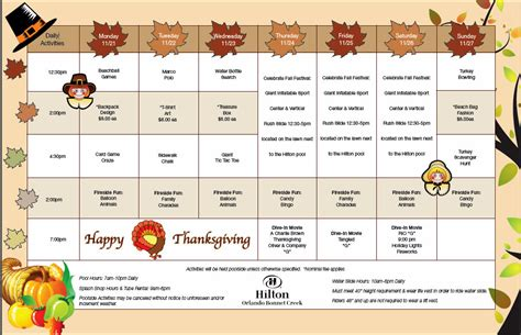 Calendar When Is Thanksgiving Food And At Waldorf Astoria Orlando And