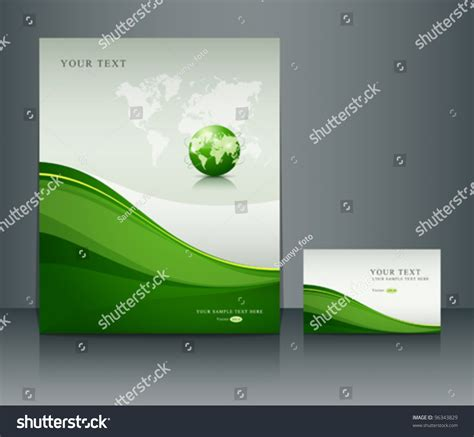 green id card design background presentation green globe poster flyer namecard stock