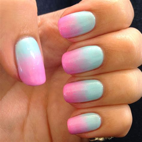 blue ombre nails blue and pink ombr 233 nails using gelish nails
