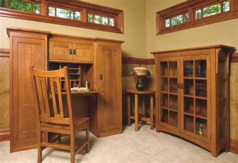 mission style white oak office furniture craftsman