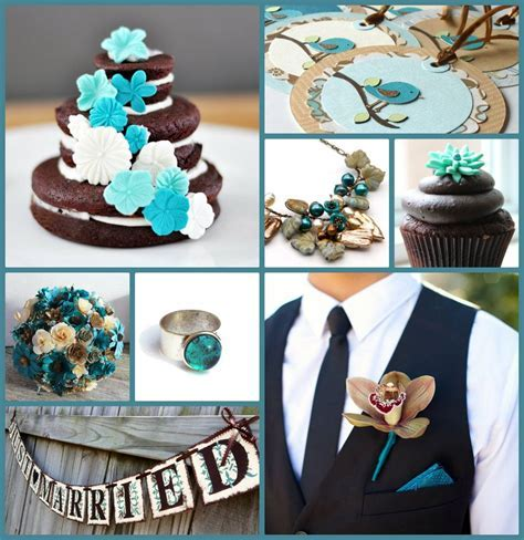 Teal and Brown Wedding   Green Bride Guide    Now I think