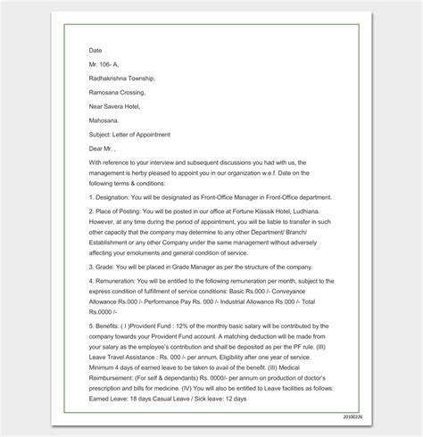 appointment letter for doc company appointment letter 9 docs for word and pdf format