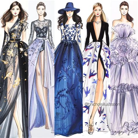 fashion illustration ideas favorites from couture week from left to right elie saab ralph and russo illustrations