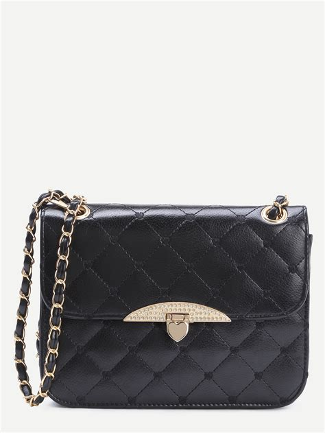 Quilted Bag With Chain by Black Faux Leather Quilted Flap Shaped Lock Chain Bag