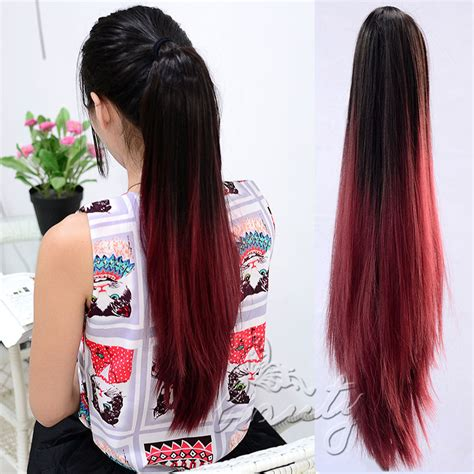 ombre african american ponytails pieces 20 quot straight claw ponytail clip in pony tail hair