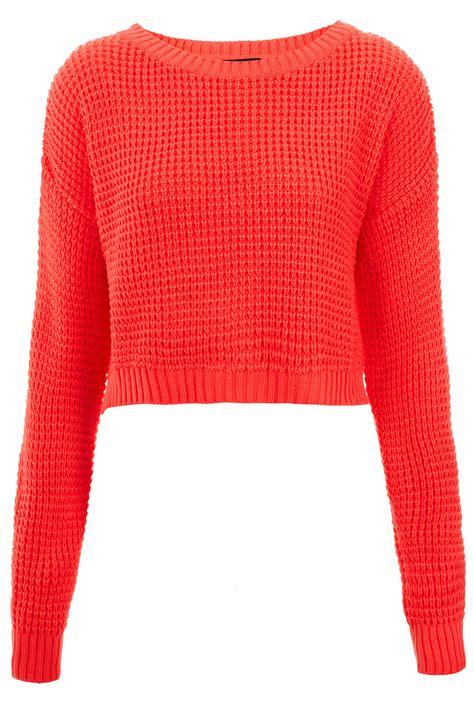 lyst topshop knitted textured stitch crop jumper  pink