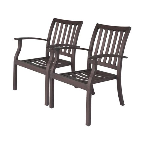 Aluminum Stacking Patio Chairs Shop Allen Roth Gatewood 2 Count Brown Aluminum Stackable Patio Dining Chairs At Lowes