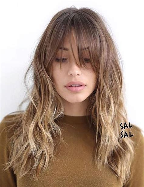 hairstyles with light bangs wavy balayage hairstyles with bangs blonde light brown