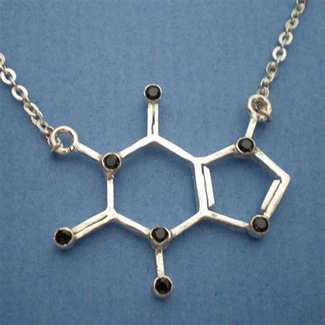 coffee caffeine molecule necklace with birthstones