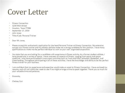 Personal Fitness Trainer Cover Letter by Cover Letter For A Fitness Instructor Cover Letter