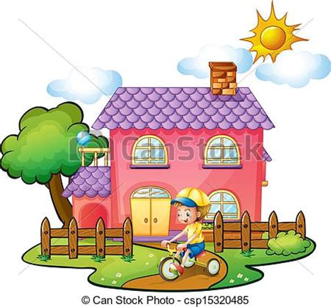 Small Victorian Cottage Plans by Vector Of A Little Boy Playing In Front Of Their House
