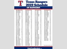 Printable Texas Rangers Baseball Schedule 2018 2017 Texas Rangers Schedule Printable