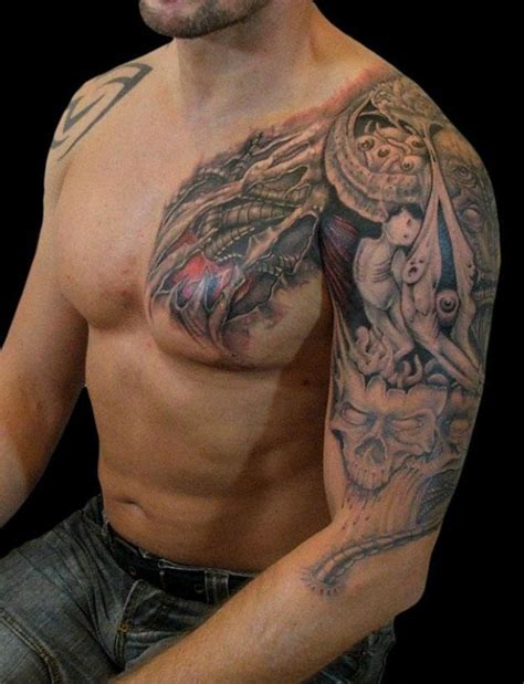 chest half sleeve tattoo designs biomechanical tattoos designs ideas and meaning tattoos