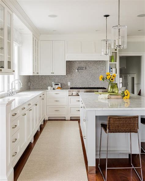 backsplash in white kitchen white and grey marble countertops design ideas