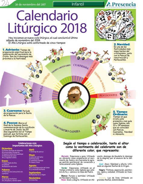 Calendario 2018 Mexico Miercoles De Ceniza Calendario Lit 250 Rgico 2018 Presencia Digital