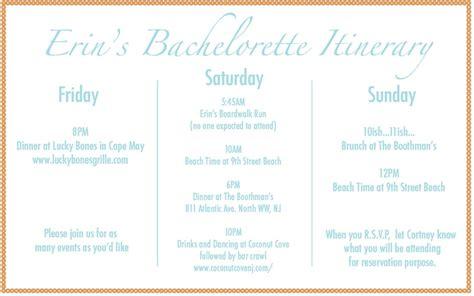 bachelorette party itinerary bachelorette party