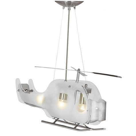 Helicopter Novelty Glass Pendant On Wires Childrens Ceiling Light Fixtures