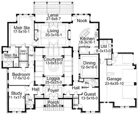 central courtyard house plans interior courtyard floor plan my dream homes pinterest