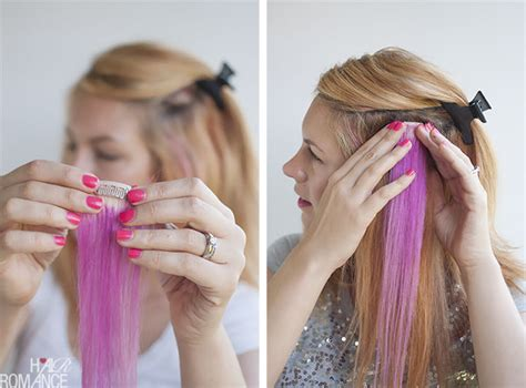 how to dye clip in hair extensions how to diy pink highlights in your hair hair