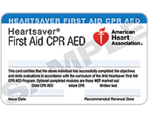 American Association Heartsaver Cpr Card Template by Heartsaver 174 Aid Cpr Aed Course Completion Card 3