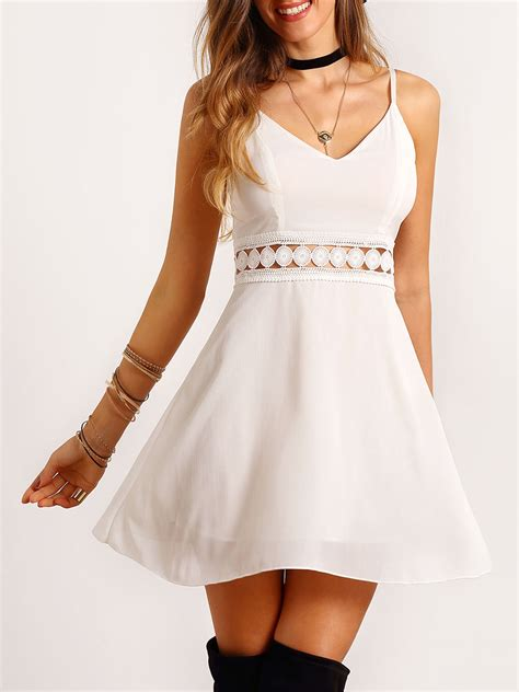 Dress White Slim Waist 17029 white spaghetti lace slim dressfor romwe