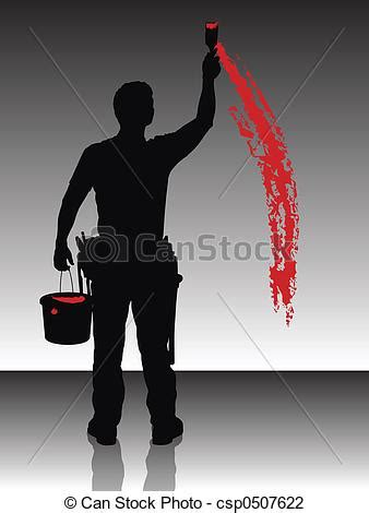painter silhouette   painter painting  wall  red
