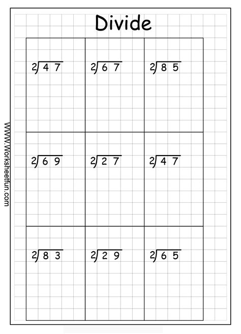 free printable long division worksheets on graph paper long division 2 digits by 1 digit with remainders 8
