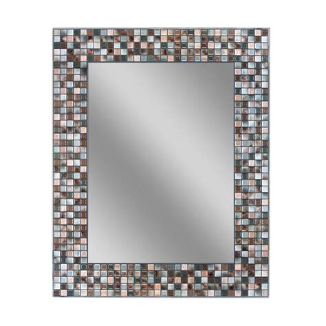 mosaic tile bathroom mirror deco mirror 30 in l x 24 in w earthtone copper bronze