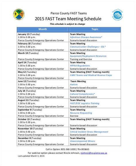 team schedule templates  sample  format