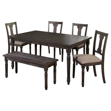 target dining bench 6 piece burntwood dining set with bench weathered gray