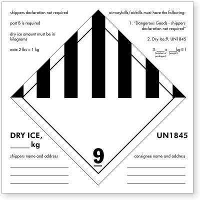 printable dry ice label shipping labels sku d1347