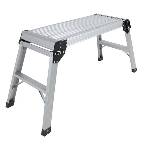 bench step up aluminum platform drywall step up folding work bench stool ladder ebay