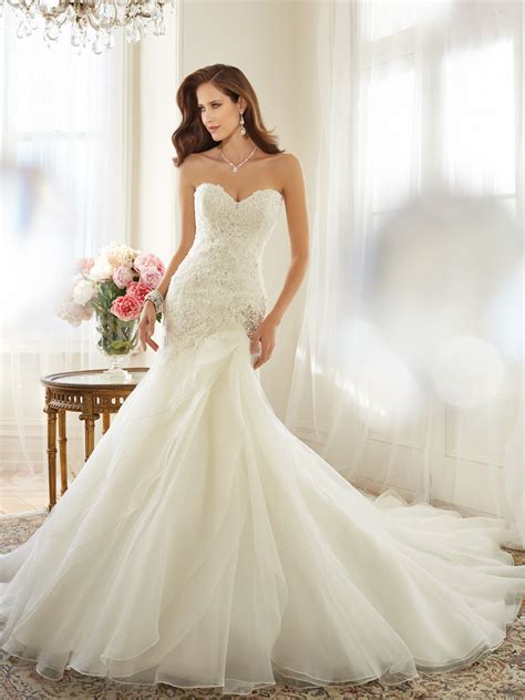 A Line Wedding Dresses by Organza A Line Wedding Dress With Dropped Waist