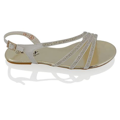 sparkly flat sandals womens flat diamante strappy sandals sparkly bridal