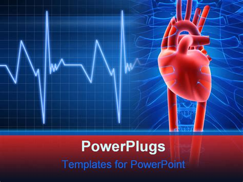 Powerpoint Template Light And Dark Blue Medical Background Red Heart 16091 Cardiac Powerpoint Template