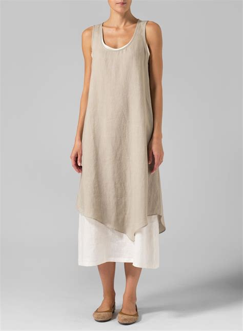 Simple Linen linen layered dress casual cool simple and regular fitting lines of this