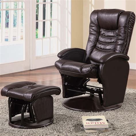 Reclining Glider Rocker With Ottoman by Brown Glider Recliner Chair With Matching Ottoman By