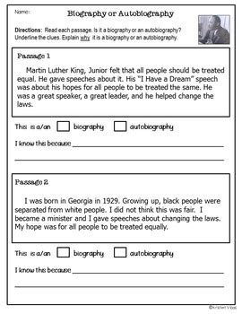 biography and autobiography sort biographies and autobiographies reading activities by