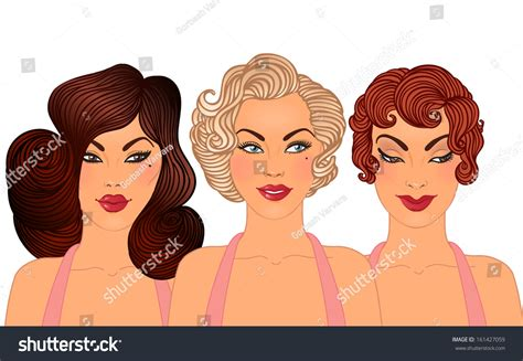 Classic Pin Up Hairstyles by Pinup Classic Hairstyles Makeup Styles 1950s Stock Vector