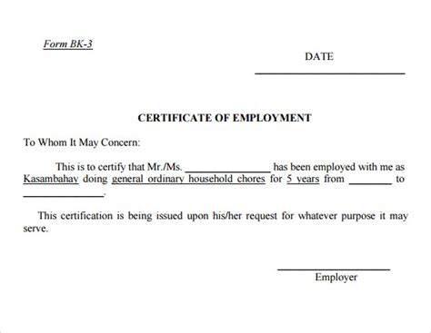 certification of employment template employment certificate template 9 free