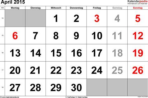2015 Calendar April Kalender April 2015 Als Excel Vorlagen