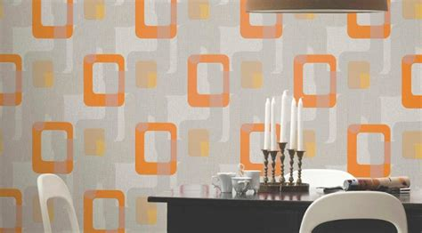 Orange Kitchen Wallpaper by P S International Novara Retro Wallpaper In Orange