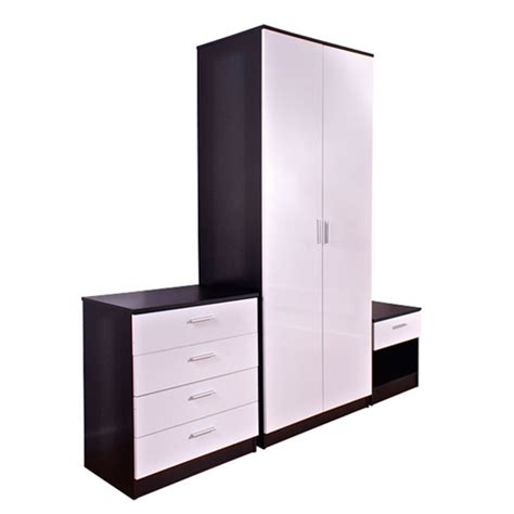 White And Black Gloss Bedroom Furniture Ottawa 3 Bedroom Furniture Set In Oak And White High Gloss