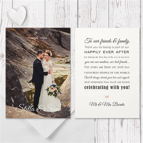 when to send out wedding thank you cards modern wedding thank you photo card with free custom