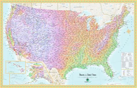 map of usa airports united states airport wall map maps
